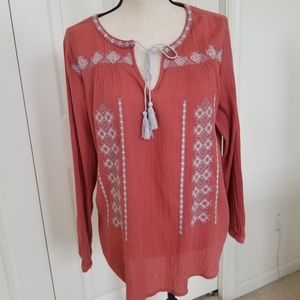 BEACHLUNCHLOUNGE Embroidered Boho Style Top Med.